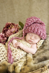 Sleeping Baby Wearing Hat