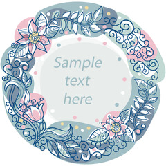 colorful floral frame with space for text