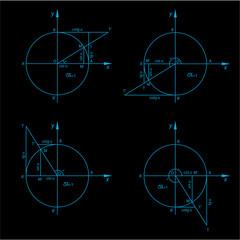 Vector trigonometry figures