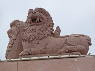 Lion at Lord Balaji Temple, Narayanpur, Pune, Maharashtra, India
