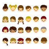 Fototapety Kids Face Icons Set