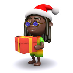 3d Rasta holding a Christmas present