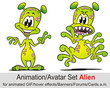 Leinwanddruck Bild - Animation Set Alien Green