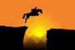 Pferd springt über Klippe