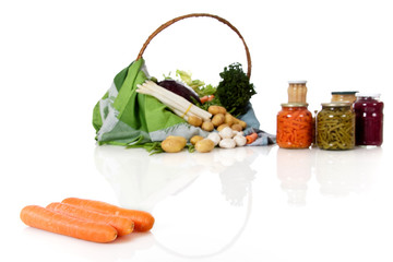 Fresh carrots, canned and fresh vegetables