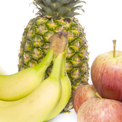 apples, bananas and a pineapple