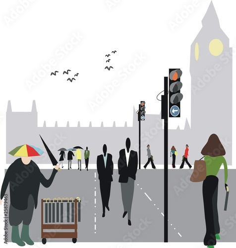 London pedestrian illustration