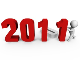 Replacing numbers to form new year 2011 - a 3d image