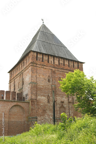 Tower on fortress wall. Isolated
