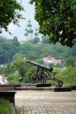 The cannon on the Kremlin shaft in Chernigov, Ukraine poster