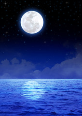 Stock image of the moon over the ocean