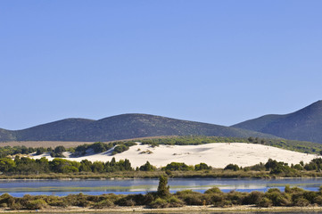 Sardinia beach with dunes. teulada