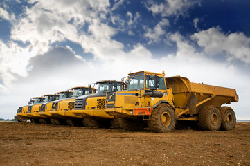 Row of yellow heavy tipper trucks