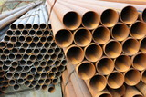 Close-up of steel high-pressure pipes of various diameter poster