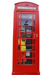 Cabine de téléphone rouge anglaise sur fond blanc