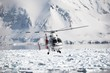 Helicopter over the frozen fjord - 25890669