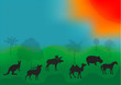 Vector illustration animals in the African savanna with trees