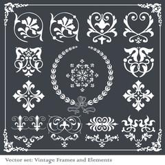 Vintage elements for frame or book cover, card