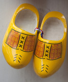 a pair of dutch wooden shoes