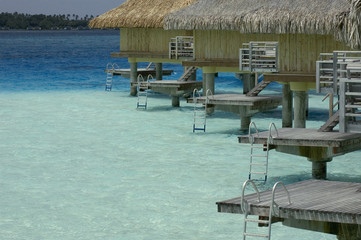 Overwater bungalows at Bora-Bora lagoon