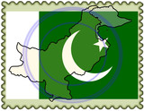 Pakistan map flag stamp
