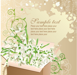 Background with open box full of snowdrops