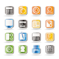 Hi-tech and technology equipment - vector icon set 4