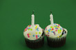 Two birthday cupcakes with candles blown out