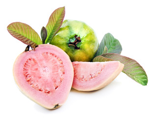 Healthy ripe fresh guavas on white background