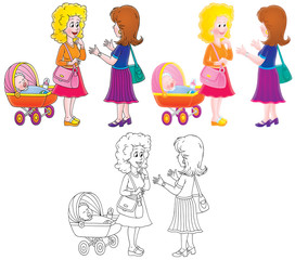 Talking women wit a baby buggy