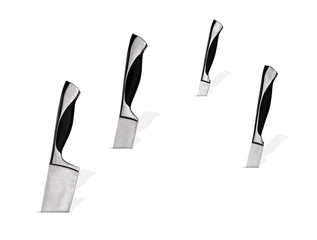 Kitchen knives on white background