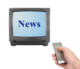 Hand with remote control and tv News