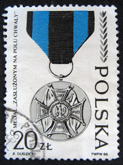 POLAND - CIRCA 1988: Shows the Medal.