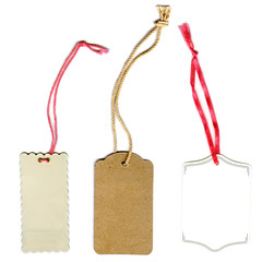 collection of price tags or address labels with string