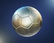 Detaily fotografie kovové fotbal (fotbalový míč) na modrém pozadí, hi-tech