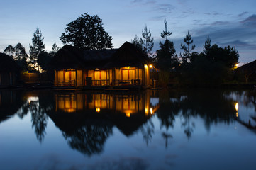 floating bamboo hut early morning