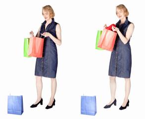 Frau mittleren Alters unternimmt eine Shoppingtour