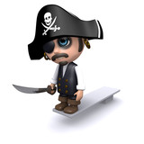 3d Pirate walks the plank
