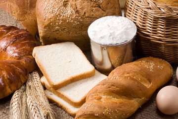 bakery products and basket