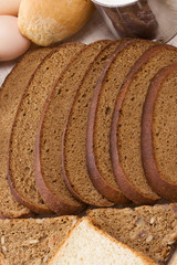 bakery products on sacking