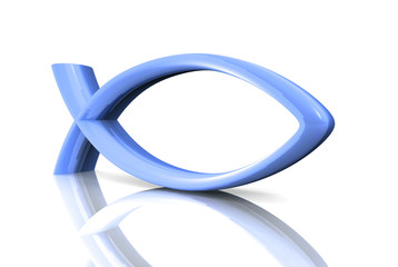 3D ICHTHYS Blau - Abstrakt Fisch Symbol 02