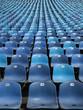 blaue tribüne, endlose reihen von sitzen
