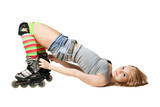 Lying pretty girl in roller skates