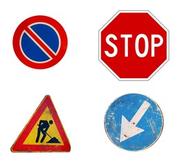 four road signs