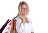 jolie femme blonde qui fait les boutiques poster