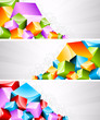 Set of banners with coloful cubes