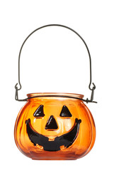 glass halloween pumpkin candle holder