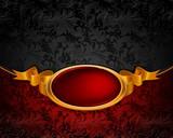 Vitnage frame ornament, red and black