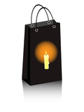 vector Halloween shopping bag with lighting candle