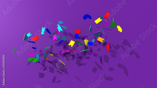 3d puzzle forming the title teambuilding with purple background